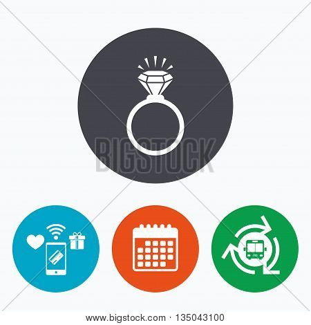Ring sign icon. Jewelry with shine diamond symbol. Wedding or engagement day symbol. Mobile payments, calendar and wifi icons. Bus shuttle.