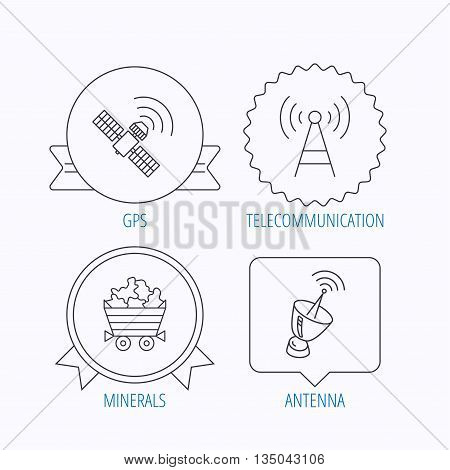 Telecommunication, minerals and antenna icons. GPS satellite linear sign. Award medal, star label and speech bubble designs. Vector