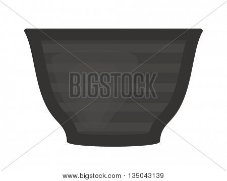 Black soup cup plate pot vector