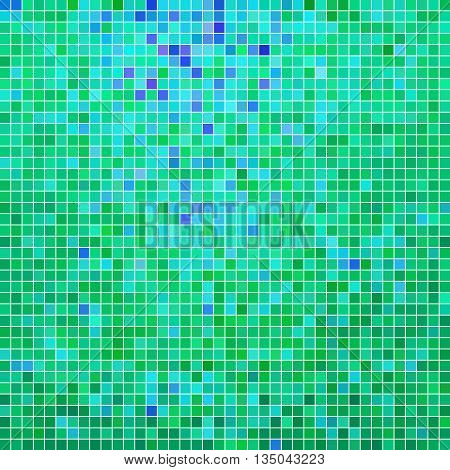 abstract vector square pixel mosaic background - green and blue
