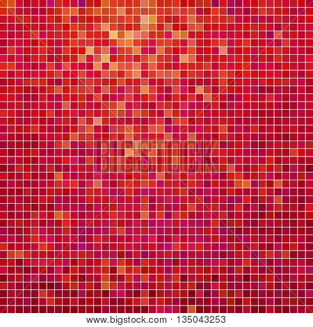 abstract vector square pixel mosaic background - purple and red