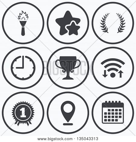 Clock, wifi and stars icons. First place award cup icons. Laurel wreath sign. Torch fire flame symbol. Prize for winner. Calendar symbol.