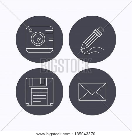 Photo camera, pencil and mail icons. Floppy disk linear sign. Flat icons in circle buttons on white background. Vector