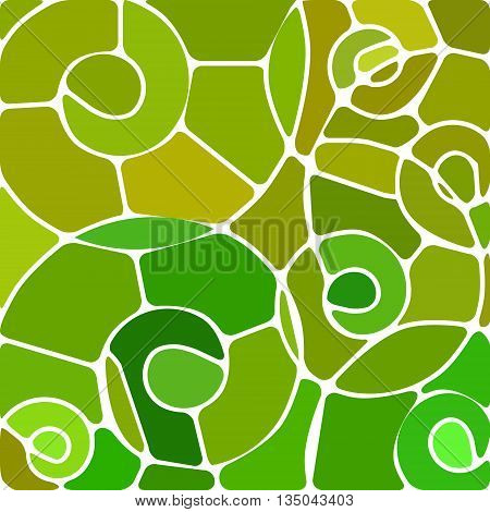 abstract vector stained-glass mosaic background - green and yellow spirals