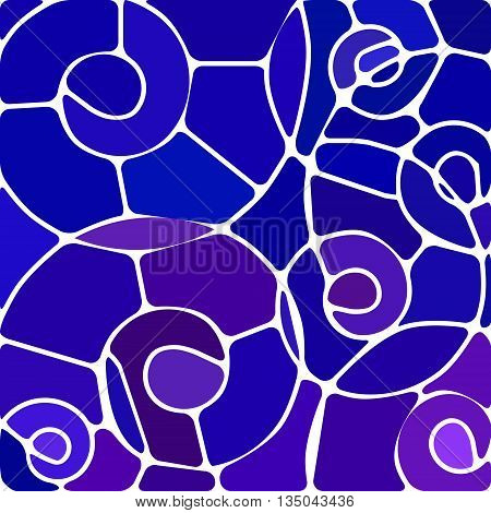 abstract vector stained-glass mosaic background - blue and violet spirals