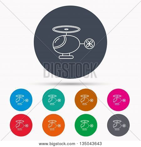 Helicopter icon. Urban air transport sign. Icons in colour circle buttons. Vector