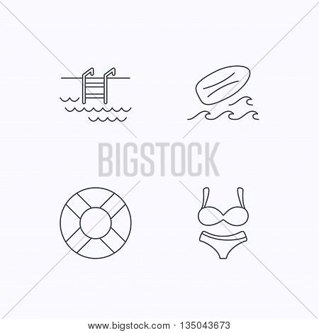 Surfboard, swimming pool and bikini icons. Lifebuoy linear sign. Flat linear icons on white background. Vector