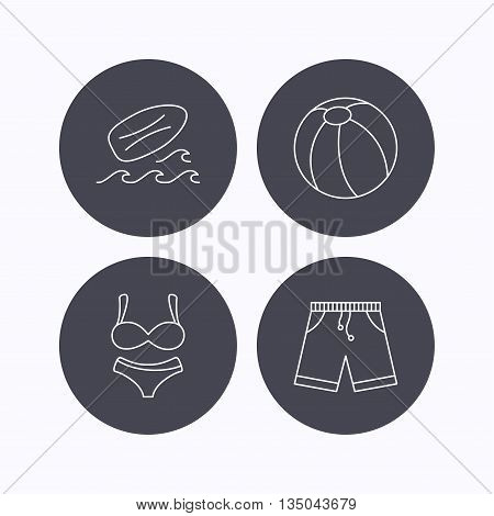 Surfboard, beach ball and trunks icons. Shorts linear sign. Flat icons in circle buttons on white background. Vector