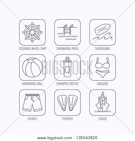 Surfboard, swimming pool and trunks icons. Beach ball, lingerie and shorts linear signs. Flippers, cruise ship and shampoo icons. Flat linear icons in squares on white background. Vector