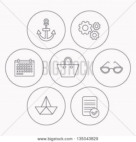 Paper boat, anchor and glasses icons. Ladies handbag linear sign. Check file, calendar and cogwheel icons. Vector