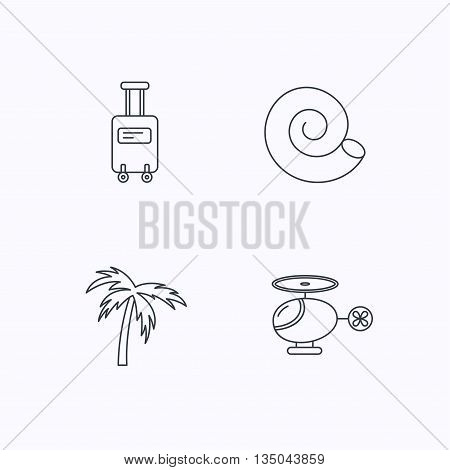 Palm tree, shell and helicopter icons. Suitcase on wheels linear sign. Flat linear icons on white background. Vector