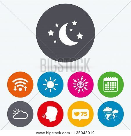 Wifi, like counter and calendar icons. Weather icons. Moon and stars night. Cloud and sun signs. Storm or thunderstorm with lightning symbol. Human talk, go to web.