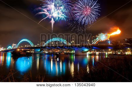 DA NANG, VIETNAM, April 24, 2016 dragon bridge, Bridge was designed by Ammann & Whitney Consulting Engineers with Louis Berger Group, the bridge spanning the Han River, Da Nang city, fireworks