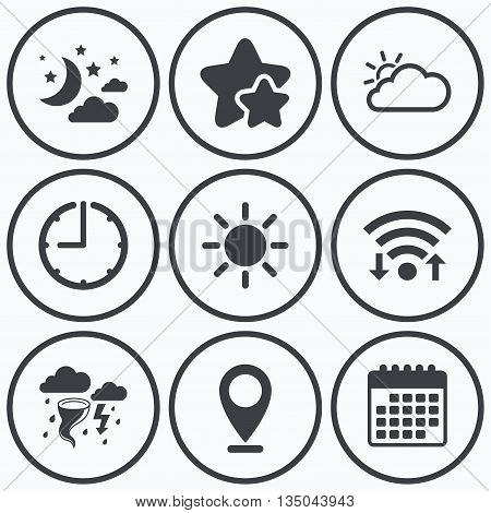 Clock, wifi and stars icons. Weather icons. Moon and stars night. Cloud and sun signs. Storm or thunderstorm with lightning symbol. Calendar symbol.