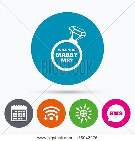 Wifi, Sms and calendar icons. Will you marry me ring sign icon. Engagement symbol. Go to web globe.