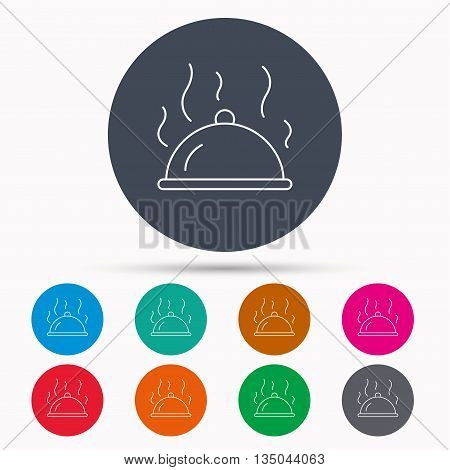 Restaurant cloche platter icon. Hot food sign. Icons in colour circle buttons. Vector