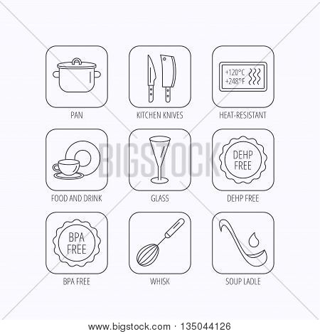 Kitchen knives, glass and pan icons. Food and drink, coffee cup and whisk linear signs. Soup ladle, heat-resistant and DEHP, BPA free icons. Flat linear icons in squares on white background. Vector