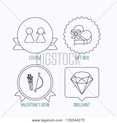 Couple, brilliant and engagement gift box icons. Valentine amour arrows linear signs. Award medal, star label and speech bubble designs. Vector