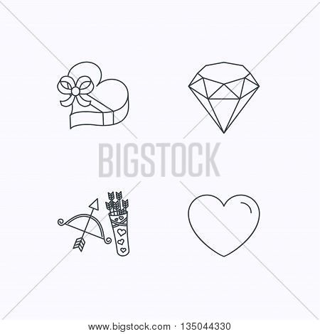 Love heart, brilliant and gift box icons. Amour bow with arrows linear signs. Flat linear icons on white background. Vector