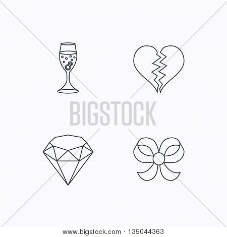 Broken heart, brilliant and engagement ring icons. Bow-knot linear sign. Flat linear icons on white background. Vector