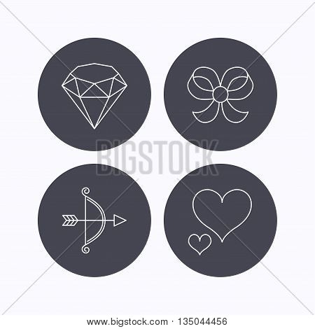 Love heart, brilliant and bow-knot icons. Bow and arrow linear signs. Flat icons in circle buttons on white background. Vector