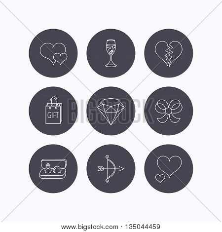 Love heart, gift box and wedding rings icons. Broken heart and engagement linear signs. Valentine amour arrow, brilliant flat line icons. Flat icons in circle buttons on white background. Vector