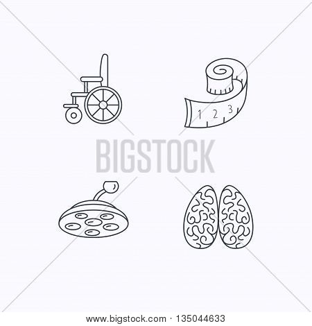 Wheelchair, neurology and weight loss icons. Surgical lamp linear sign. Flat linear icons on white background. Vector