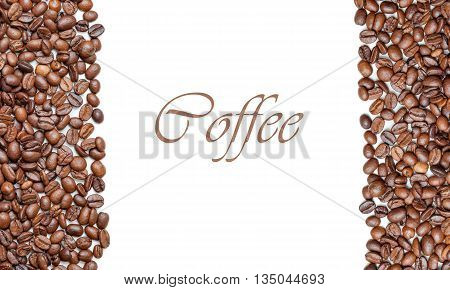 Frame Of Roasted Coffee Beans Isolated On White May Use As Background Or Texture. Top View (with Eas