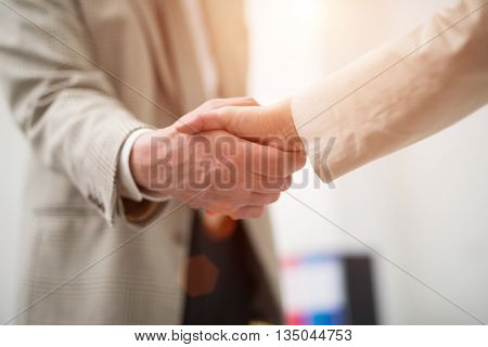 Business people shaking their hands. Lens flare effect