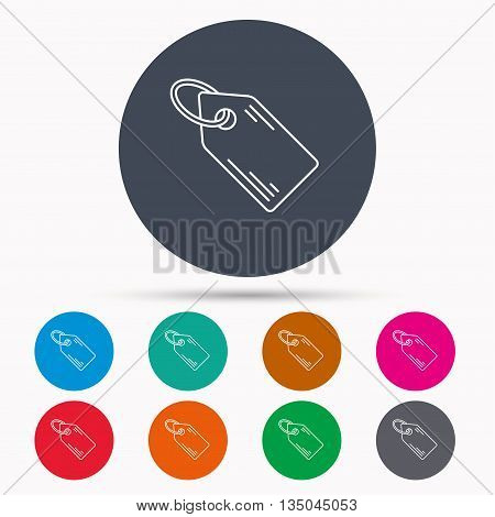 Price tag icon. Discount label sign. Shopping coupon symbol. Icons in colour circle buttons. Vector