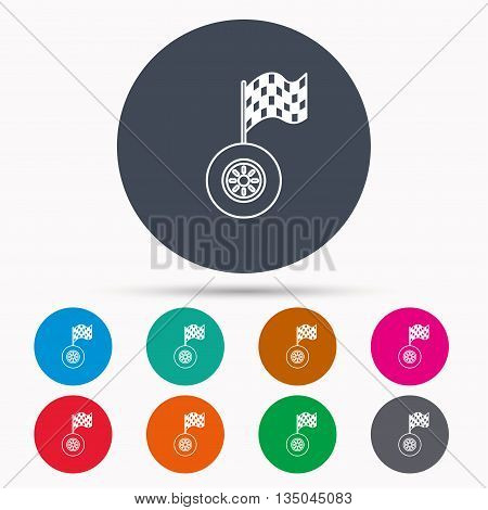 Race icon. Wheel with racing flag sign. Icons in colour circle buttons. Vector