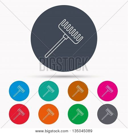 Rake icon. Gardening equipment sign. Outdoor instrument symbol. Icons in colour circle buttons. Vector