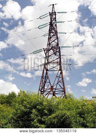High voltage powerline transmission tower (power supply)