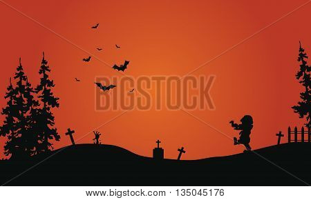Halloween red background scenery bat and zombie