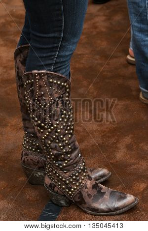 ARLINGTON, TX - APR 18: Boots worn by singer Kellie Pickler at the Cracker Barrel Old Country Store Country Checkers Challenge at Globe Life Park in Arlington on April 18, 2015 in Arlington, Texas.