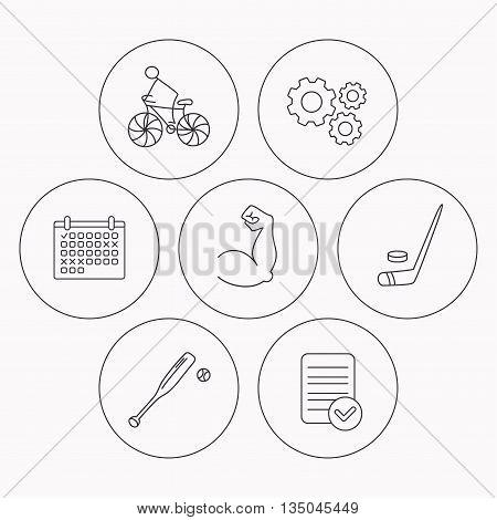 Biking, biceps and ice hockey icons. Baseball linear sign. Check file, calendar and cogwheel icons. Vector