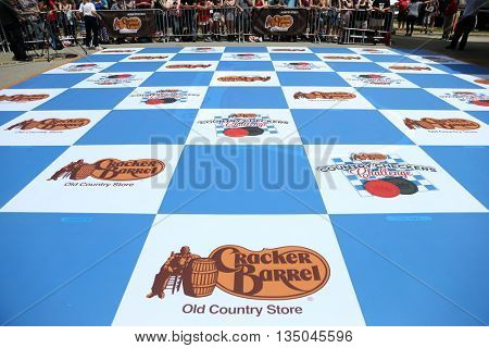 ARLINGTON, TX - APR 18: General view of the checkerboard used at the Cracker Barrel Old Country Store Country Checkers Challenge at Globe Life Park in Arlington on April 18, 2015 in Arlington, Texas.