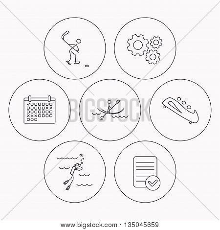 Ice hockey, diving and kayaking icons. Bobsled linear sign. Check file, calendar and cogwheel icons. Vector