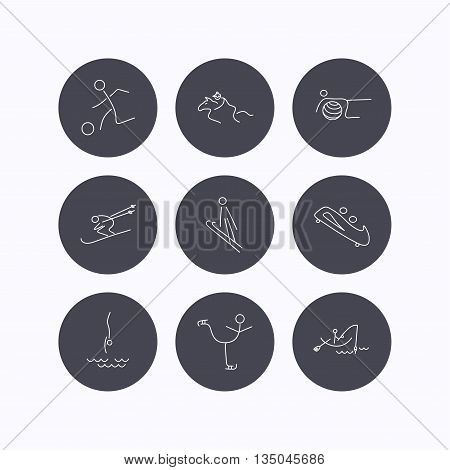 Pilates, football and skiing icons. Fishing, diving and figure skating linear signs. Ski jumping, horseback riding and bobsled icons. Flat icons in circle buttons on white background. Vector