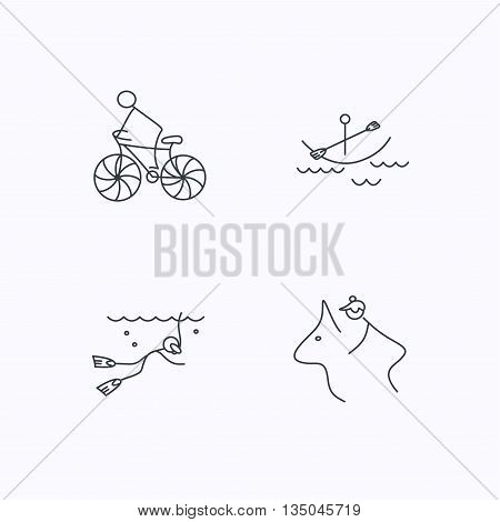 Diving, biking and horseback riding icons. Boating linear sign. Flat linear icons on white background. Vector
