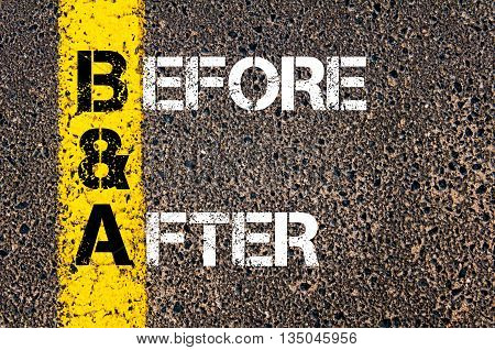 Concept Image Of Business Acronym Ba Before And After