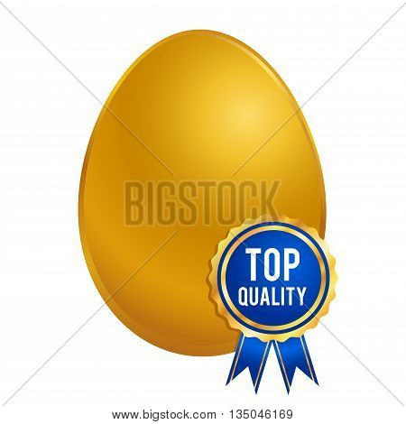 Vector stock of shiny golden egg with top quality ribbon seal or brand