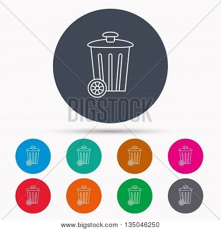 Recycle bin icon. Trash container sign. Street rubbish symbol. Icons in colour circle buttons. Vector