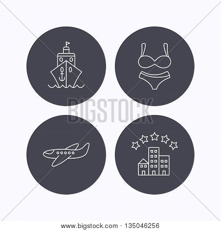 Cruise, lingerie and airplane icons. Hotel linear sign. Flat icons in circle buttons on white background. Vector