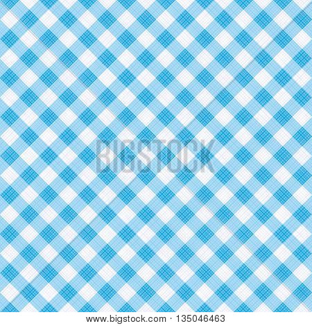 Seamless (you see 4 tiles) light blue diagonal gingham pattern background