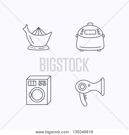 Washing machine, multicooker and hair dryer icons. Washing machine linear sign. Flat linear icons on white background. Vector