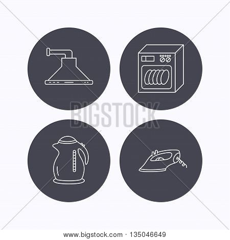 Dishwasher, kettle and kitchen hood icons. Iron linear sign. Flat icons in circle buttons on white background. Vector