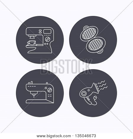 Coffee maker, sewing machine and hairdryer icons. Waffle-iron linear sign. Flat icons in circle buttons on white background. Vector
