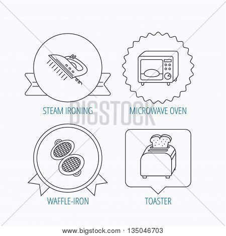 Microwave oven, waffle-iron and toaster icons. Steam ironing linear sign. Award medal, star label and speech bubble designs. Vector