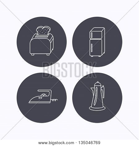 Toaster, refrigerator and iron icons. Kettle linear sign. Flat icons in circle buttons on white background. Vector
